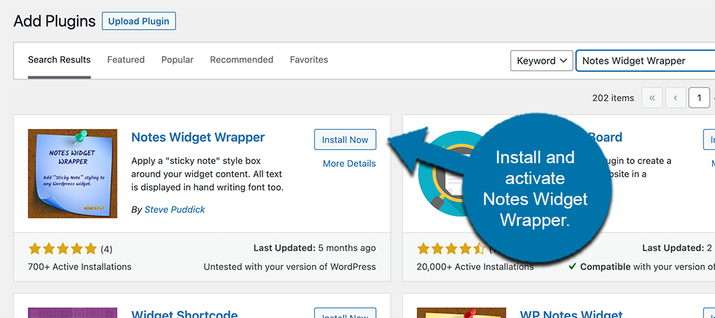 Install and activate notes widget wrapper