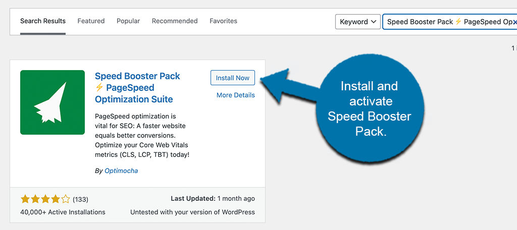 Install and activate speed booster pack