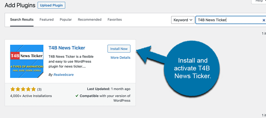 Install and activate T4B News Ticker