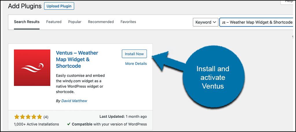 Install and activate vents weather map plugin