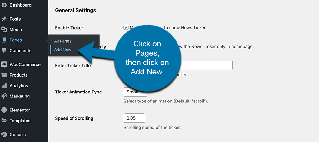 Click pages and then add new