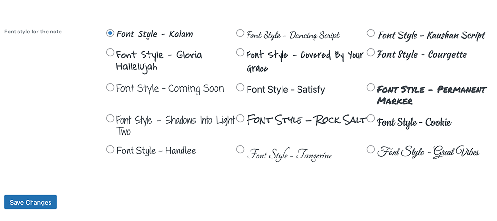 Select font style