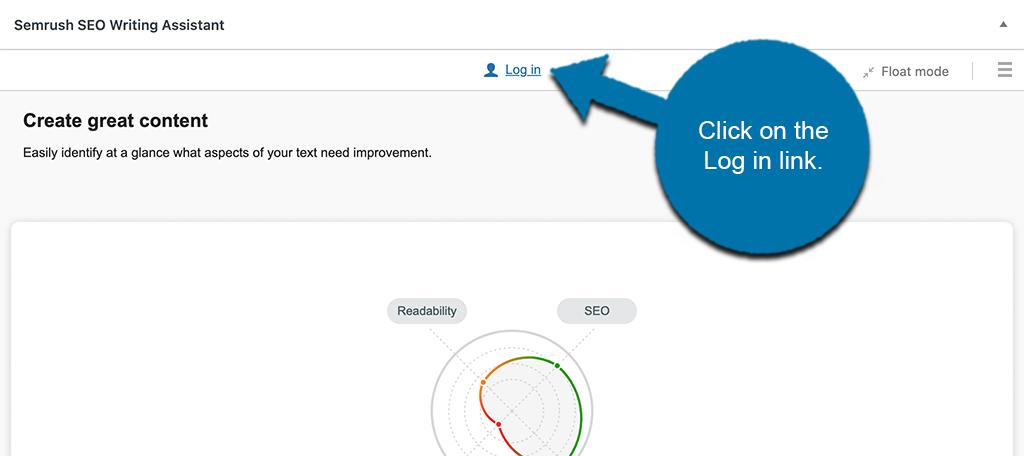 Semrush log in button