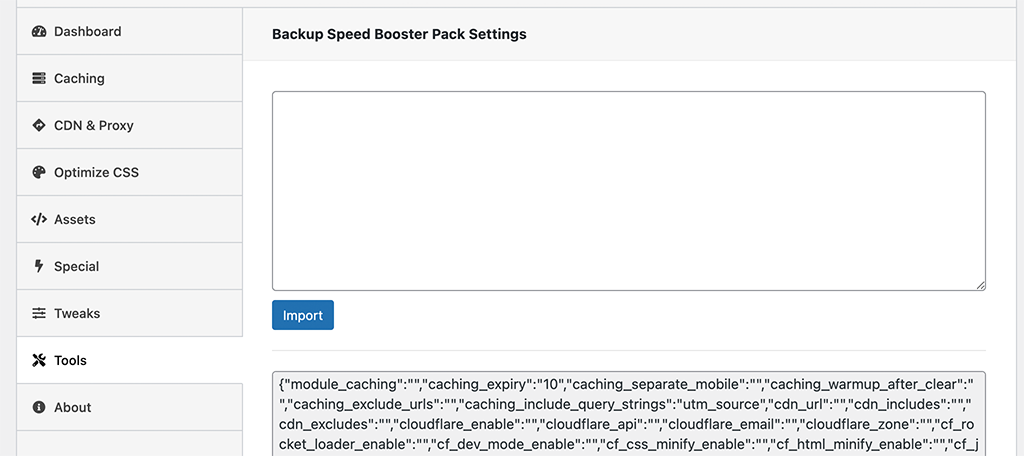 Tools section tab for speed booster pack