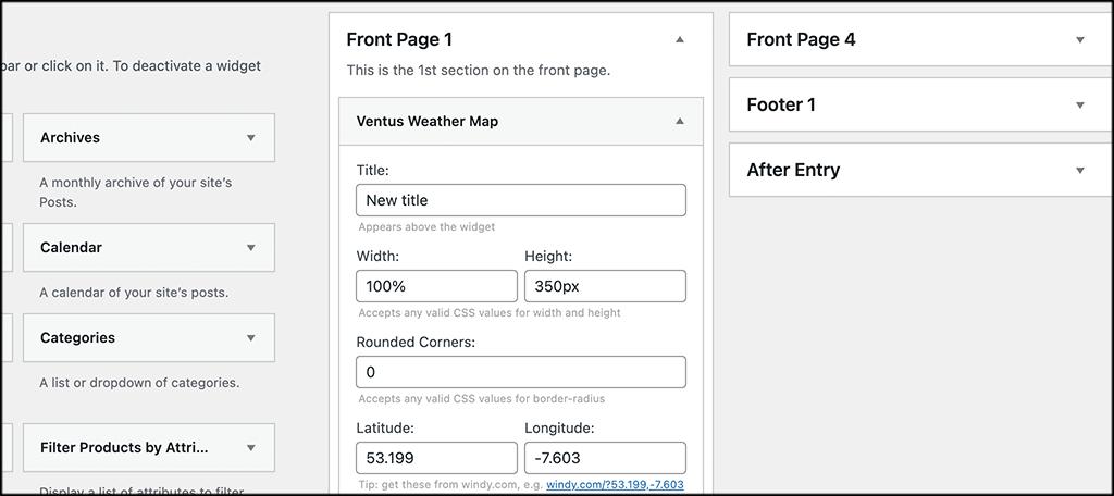 FInd the weather map widget