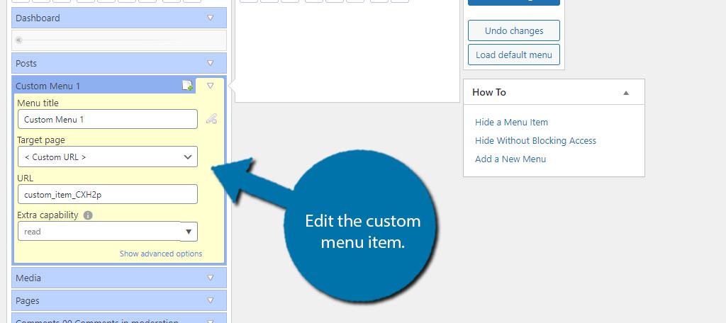 custom menu item