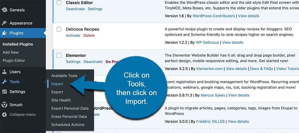 Click on tools then import