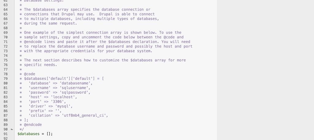 Drupal database parameters settings file