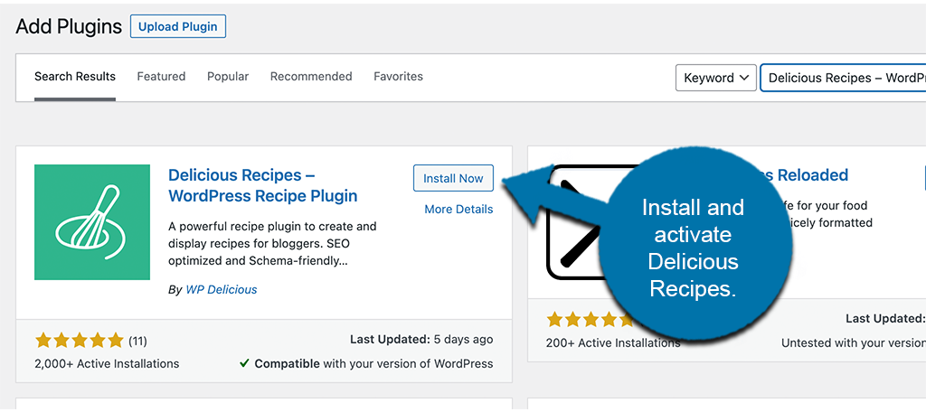 Install and activate delicious recipes