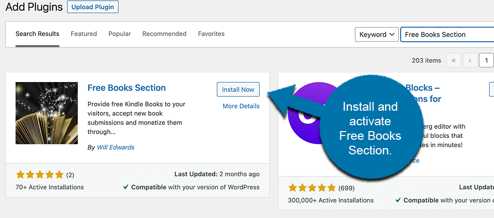 Install and activate free books section