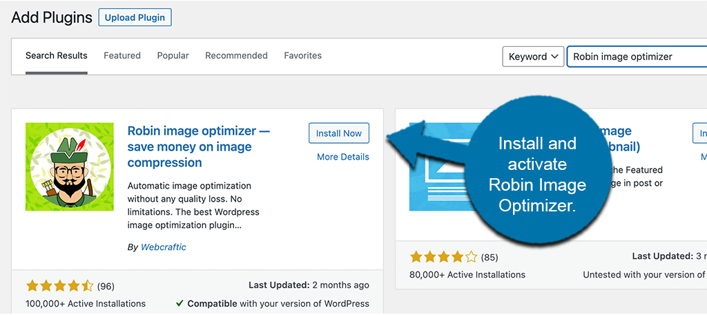 Install and activate Robin Image Optimizer