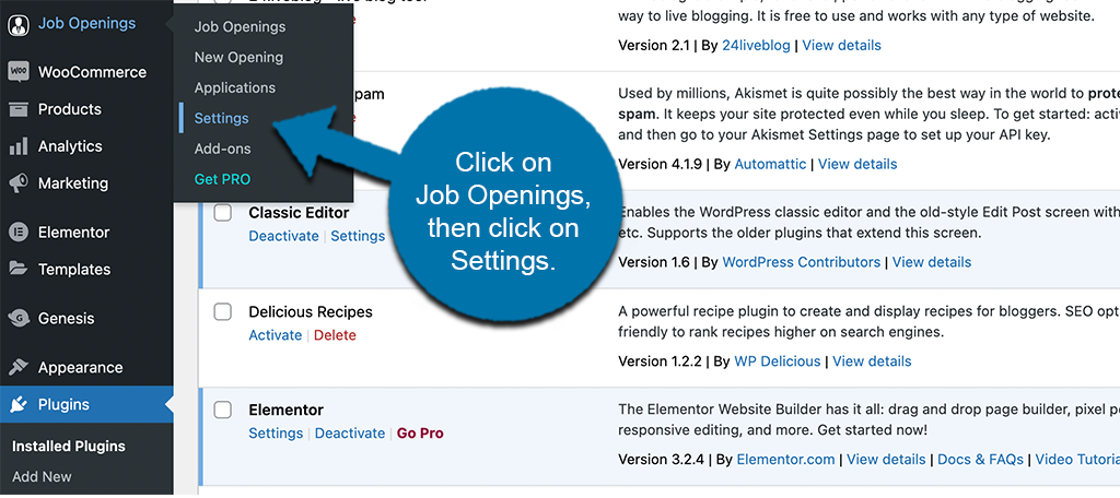 Click job openings then click on settings