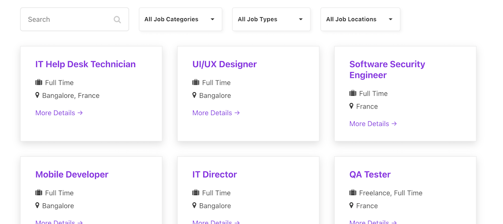 Live jobs page