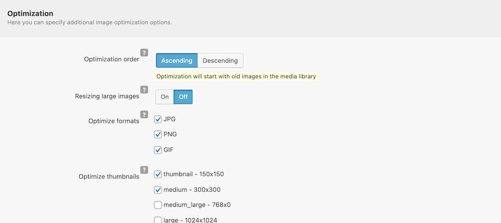 Optimization settings tab