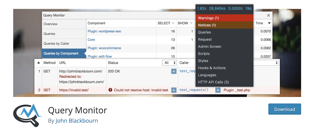 Query Monitor plugin for fewer HTTP requests