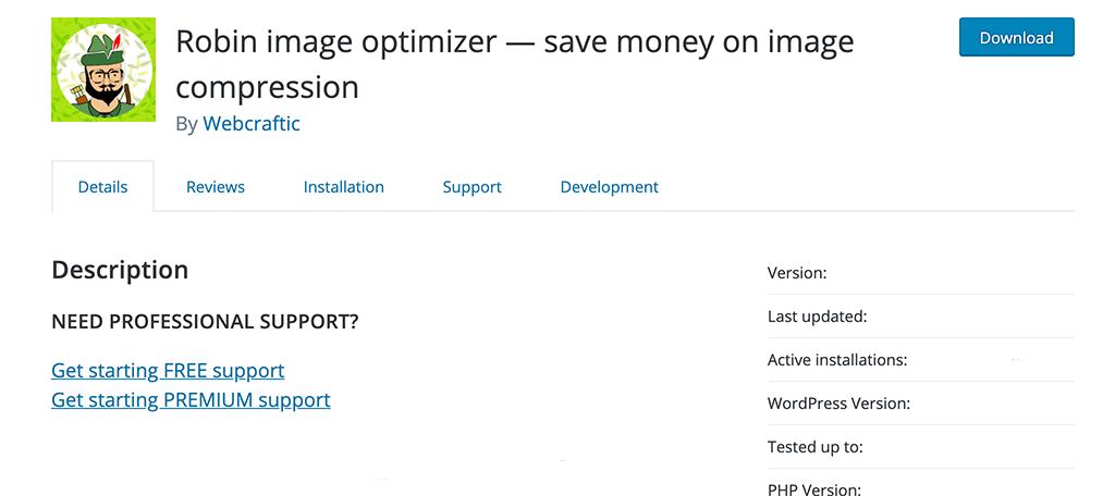 Robin Image Optimizer plugin