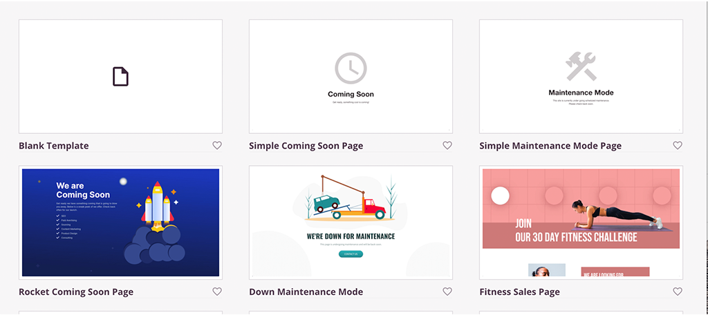 Templates for coming soon plugin